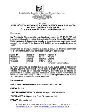 Acta Informe de Gestión 2012 - ie escuela normal superior maria ...