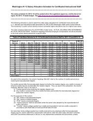 Washington K–12 Salary Allocation Schedule for Certificated ...