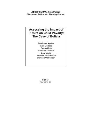 Assessing the impact of PRSPs on Child Poverty: The Case of Bolivia