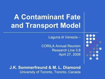 A Contaminant Fate and Transport Model - Corila