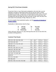 Spring 2013 Final Exam Schedule Common Final Exams