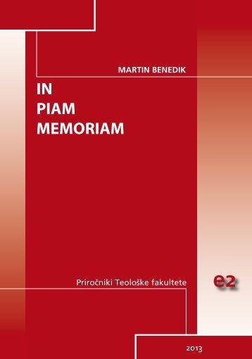 IN PIAM MEMORIAM - Teološka fakulteta - Univerza v Ljubljani