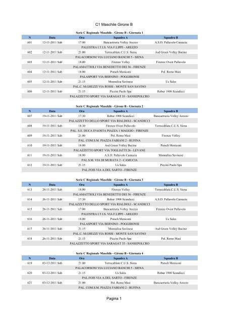 Pallavolo Serie A Maschile Calendario.Calendario Serie C Maschile Girone B Virtus Pallavolo