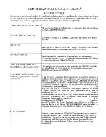 Informe de Viaje - Universidad Tecnológica de Panamá