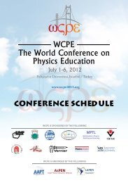 Conference Schedule - The World Conference on Physics Education