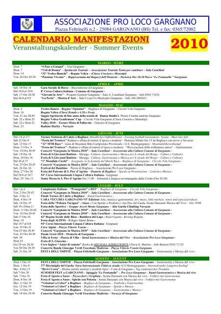 Calendario Manifestazioni Trattori D Epoca.Associazione Pro Loco Gargnano Calendario Manifestazioni