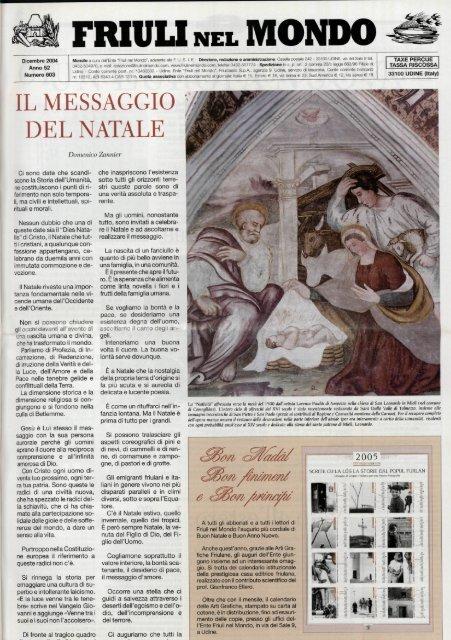 IL MESSAGGIO DEL NATALE - Ente Friuli nel Mondo