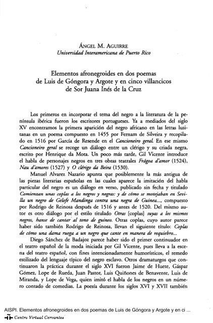 Elementos Afronegroides En Dos Poemas De Luis De Góngora Y