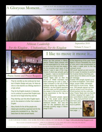 Newsletter 2010 Sept 1 - African Leadership