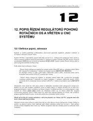 12. popis řízení regulátorů pohonů rotačních os a vřeten u cnc systému