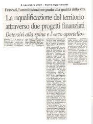La riqualificazione del territorio - Parco Regionale dei Castelli Romani