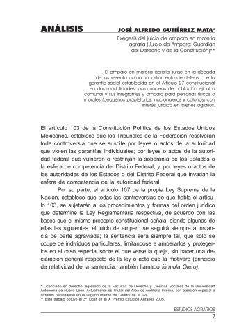 Exégesis del juicio de amparo en materia agraria - Procuraduría ...