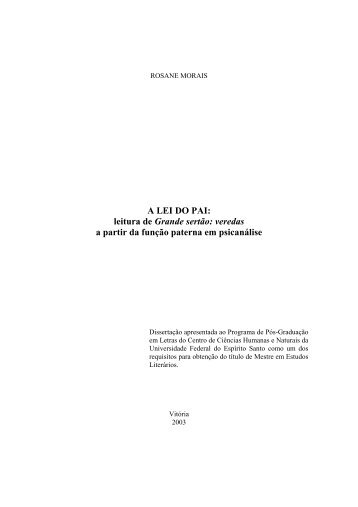 A LEI DO PAI: leitura de Grande sertão - UFES - Universidade ...
