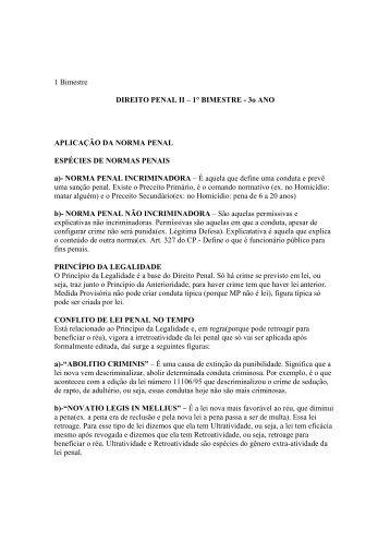 1° BIMESTRE - 3o ANO APLICAÇÃO DA NORMA PENAL ...