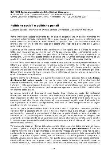 Politiche sociali e politiche penali - Caritas Italiana