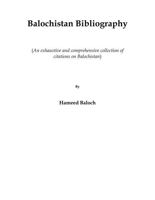 Balochistan Bibliography pdf