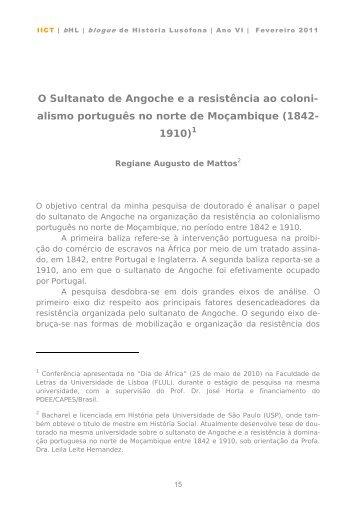 Regiane Augusto de Mattos, O Sultanato de Angoche e a ... - IICT