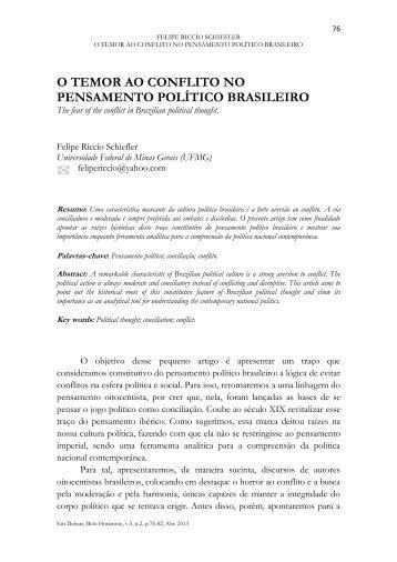 O temor ao conflito no pensamento político brasileiro - UFMG