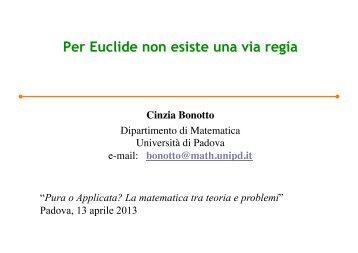 Per Euclide non esiste una via regia - Matematica