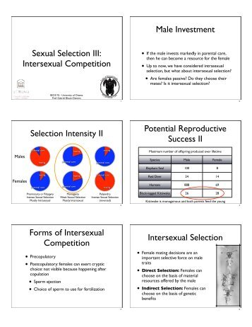 an overview of sexual selection The summary comes in two parts: one on whether plants exhibit phenotypic variation, with fitness consequences, with re- spect to traits related to male-male competition and female choice (the two com- ponents of sexual selection) and the other on whether those selection pressures effect evolutionary changes in plant traits.