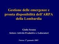 Gestione delle emergenze e pronta disponibilità ... - ARPA Lombardia