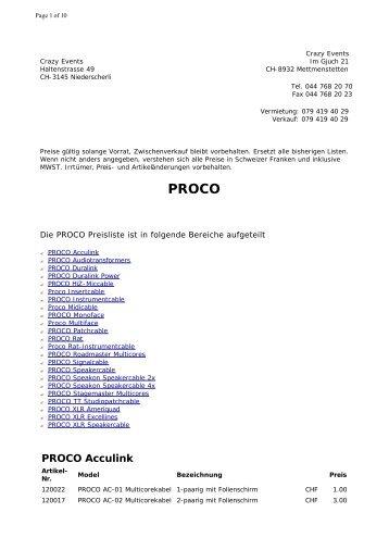 PROCO Preisliste * Crazy Events Veranstaltungstechnik ...