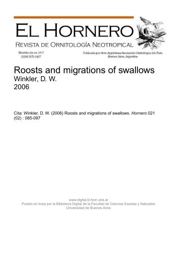 Roosts and migrations of swallows - Biblioteca Digital FCEN UBA ...