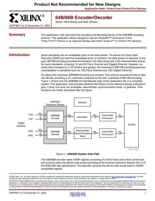 Xilinx XAPP687 64B/66B Encoder Decoder application note