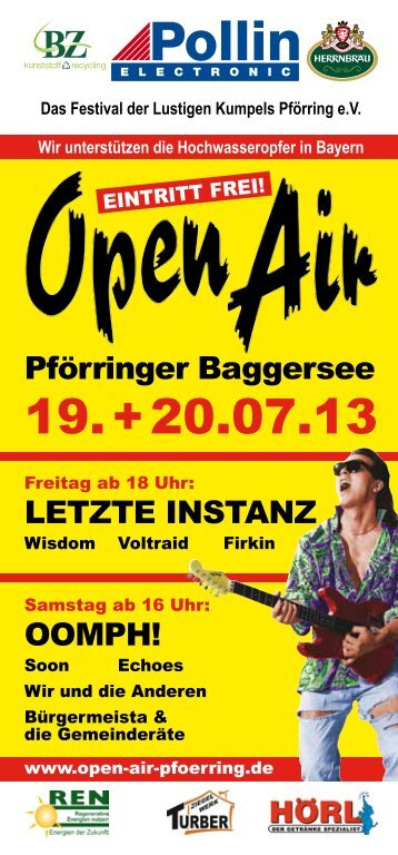 Flyer Open Air Pförring 19.   20.07.13