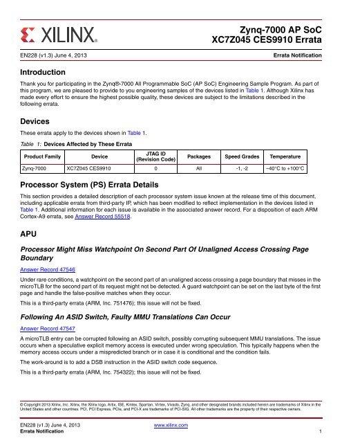 Xilinx EN228 Zynq-7000 AP SoC XC7Z045 CES9910 Errata, Errata