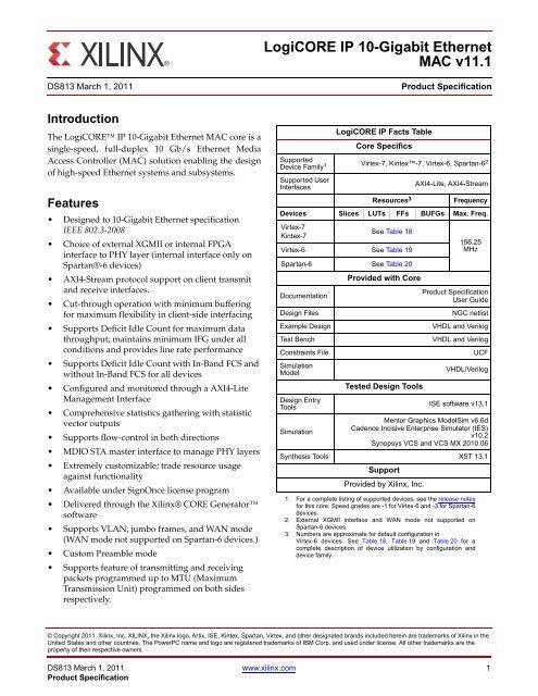 Xilinx DS813 LogiCORE IP 10-Gigabit Ethernet MAC v11 1, Data