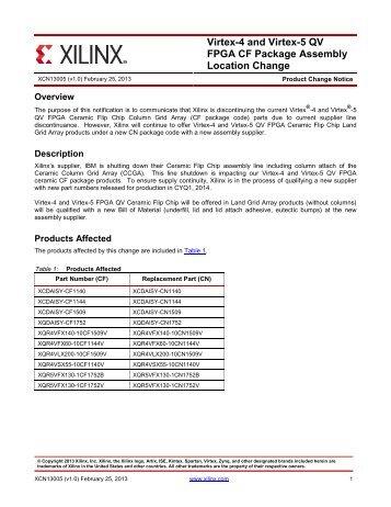 Xilinx XCN13005 - Virtex-4 and Virtex-5 QV FPGA CF Package ...