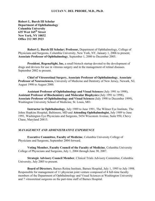 LUCIAN V  DEL PRIORE, M D , Ph D  Robert L  Burch III