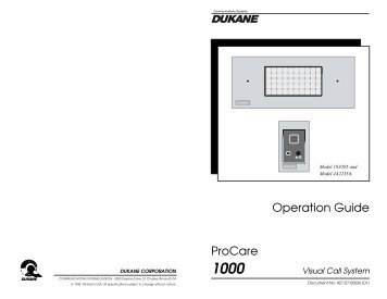 Operation Guide ProCare 1000 - Canfield Systems, Inc.