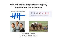 PROCARE and the Belgian Cancer Registry A tandem working in ...
