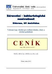 ceník 2013 zdravotní nezávadnost.pdf - Univerzální čistá voda, a.s.