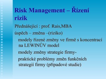 02-Risk Management – Řízení rizik