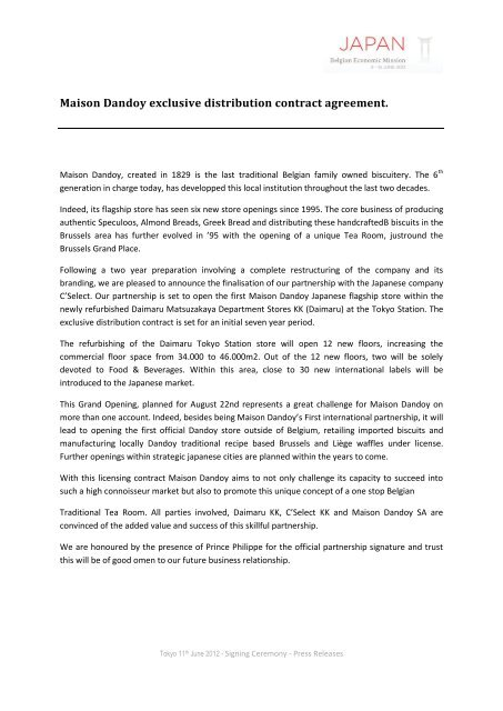 Maison Dandoy Exclusive Distribution Contract Agreement Abh