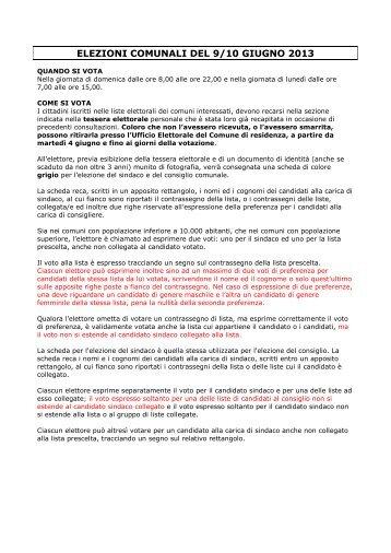 ELEZIONI COMUNALI E CIRCOSCRIZIONALI - Comune di San ...