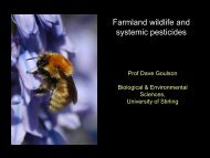 Farmland wildlife and systemic pesticides - Agroecology Group