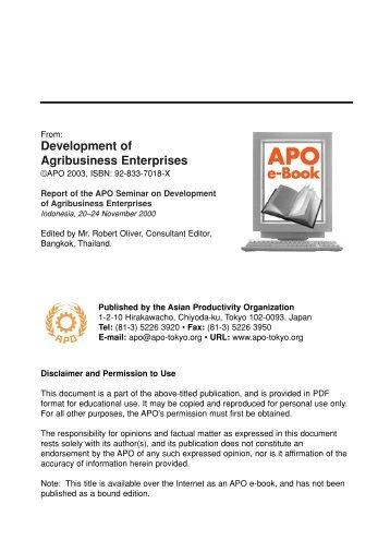 Development of Agribusiness Enterprises - Asian Productivity ...