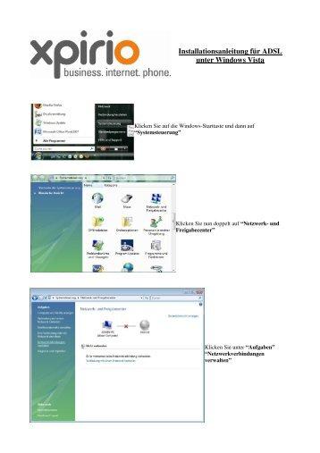 Anleitung ADSL für Windows Vista mit Thomson Modem - Xpirio