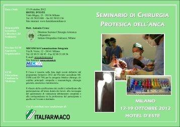 seminario di chirurgia protesica dell 'anca - Istituto Ortopedico ...