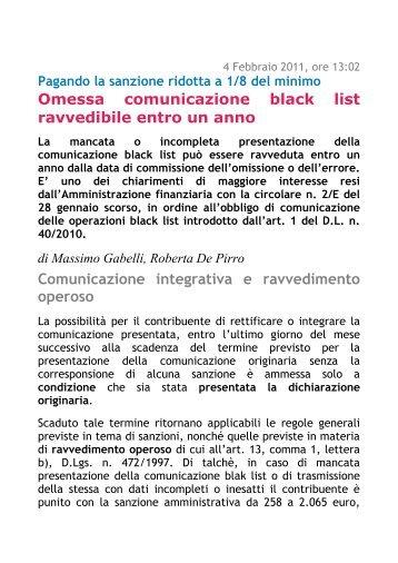 Omessa comunicazione black list ravvedibile entro un anno ...