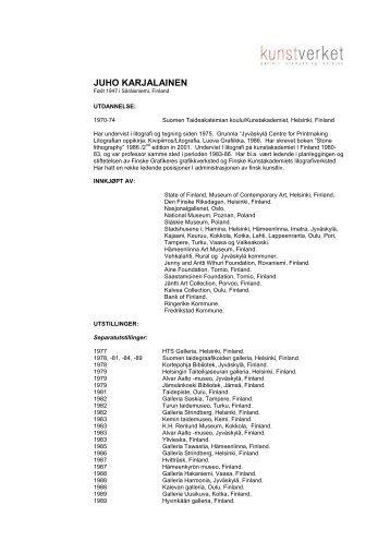 JUHO KARJALAINEN - Kunstverket Galleri