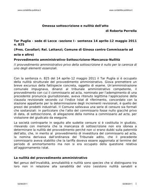 1 Omessa sottoscrizione e nullità dell'atto di Roberta Perrella Tar ...