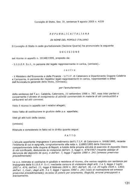 Consiglio di Stato, sez. IV, Sentenza 9 agosto - tiziano tessaro
