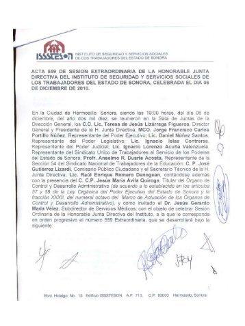 Acuerdos Sesión 559 - Gobierno del Estado de Sonora
