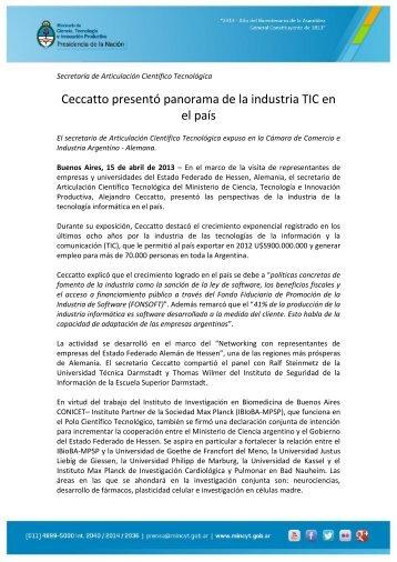 Ceccatto presentó panorama de la industria TIC en el país