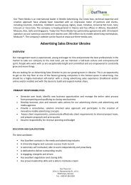 Advertising Sales Director Ukraine - Out There Media
